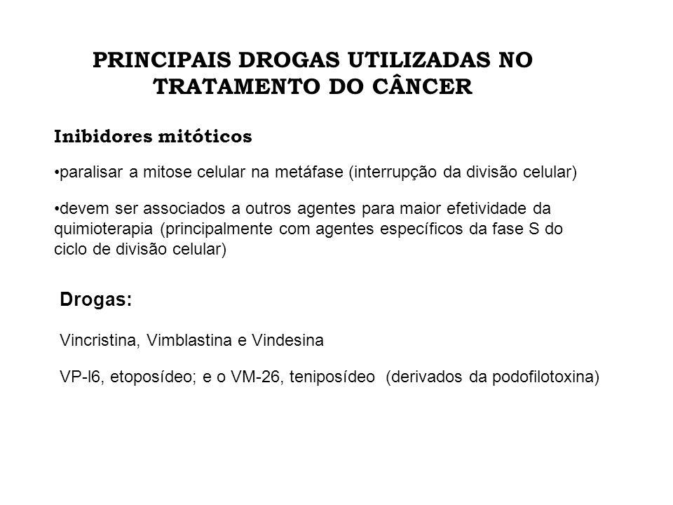 PRINCIPAIS DROGAS UTILIZADAS NO TRATAMENTO DO CÂNCER Inibidores mitóticos devem ser associados a outros agentes para maior efetividade da quimioterapi