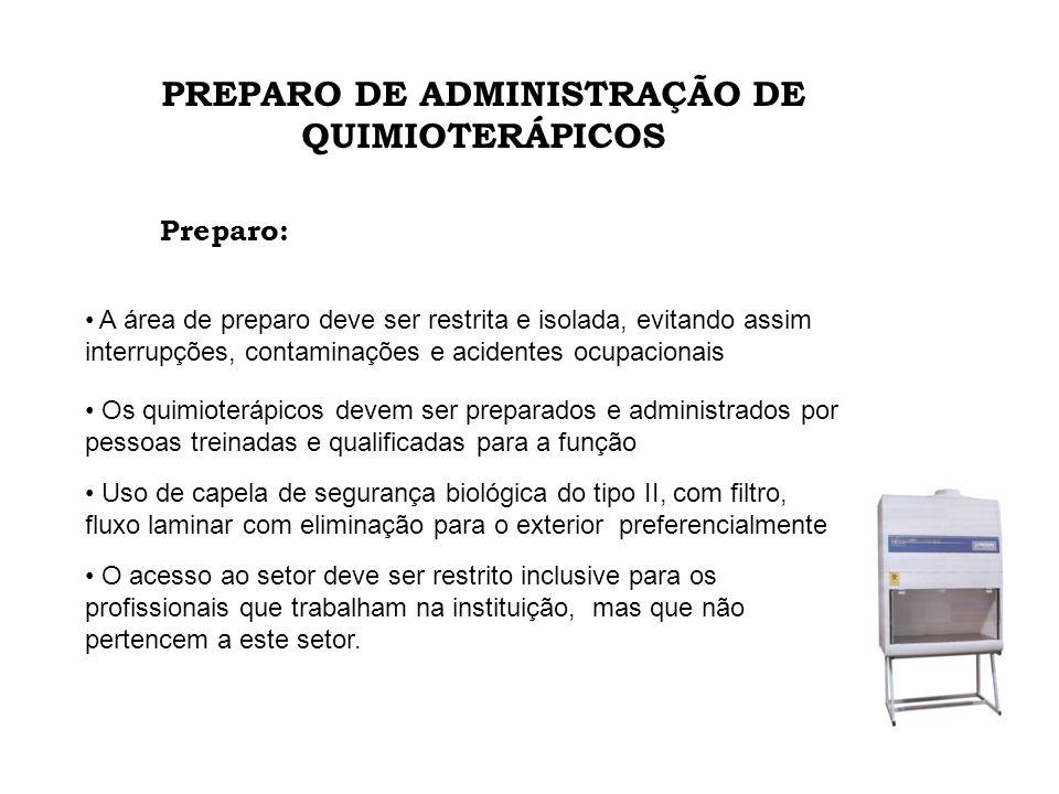 PREPARO DE ADMINISTRAÇÃO DE QUIMIOTERÁPICOS A área de preparo deve ser restrita e isolada, evitando assim interrupções, contaminações e acidentes ocup