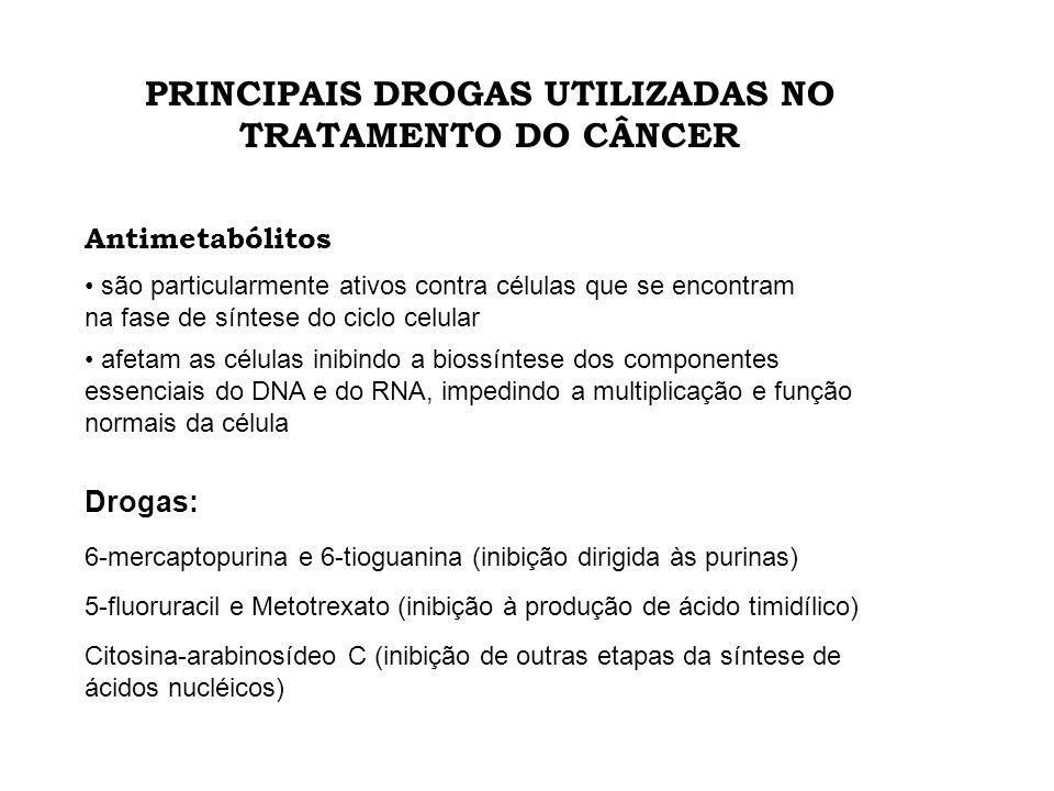 PRINCIPAIS DROGAS UTILIZADAS NO TRATAMENTO DO CÂNCER Antimetabólitos são particularmente ativos contra células que se encontram na fase de síntese do