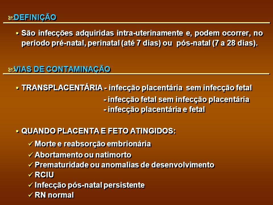 DEFINIÇÃO São infecções adquiridas intra-uterinamente e, podem ocorrer, no período pré-natal, perinatal (até 7 dias) ou pós-natal (7 a 28 dias). VIAS