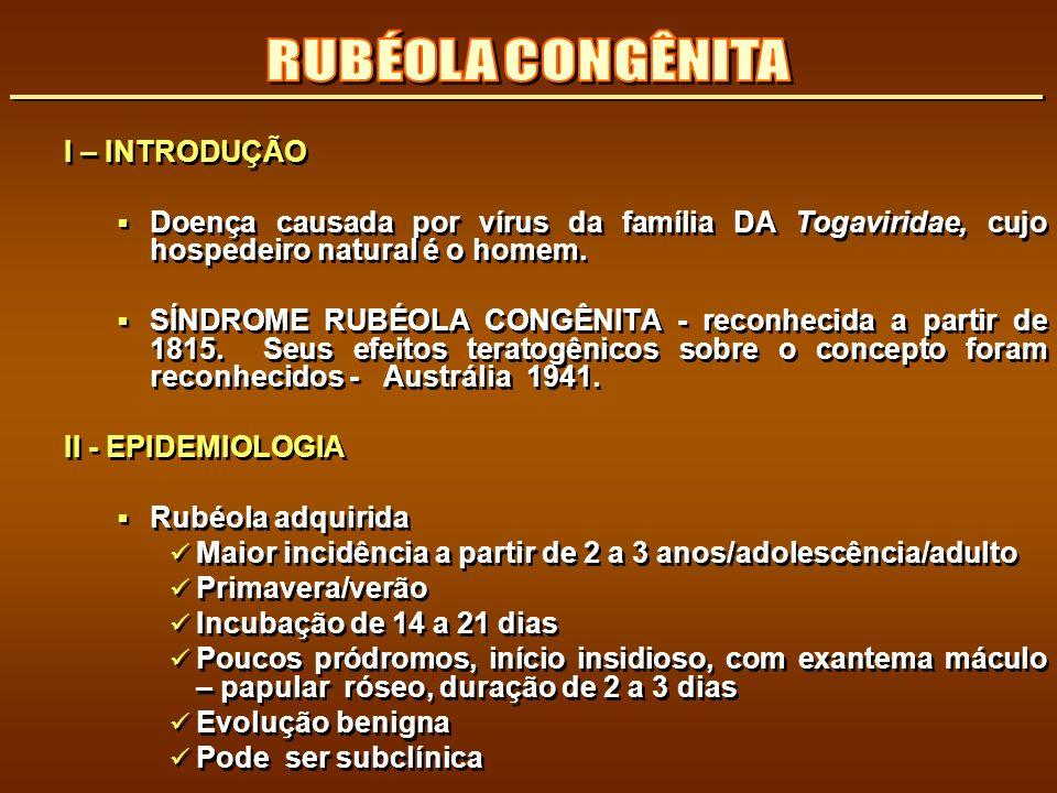 I – INTRODUÇÃO Doença causada por vírus da família DA Togaviridae, cujo hospedeiro natural é o homem. SÍNDROME RUBÉOLA CONGÊNITA - reconhecida a parti