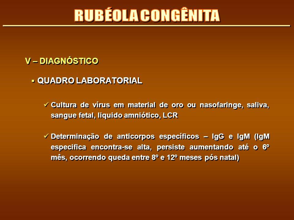 V – DIAGNÓSTICO QUADRO LABORATORIAL Cultura de vírus em material de oro ou nasofaringe, saliva, sangue fetal, liquido amniótico, LCR Determinação de a