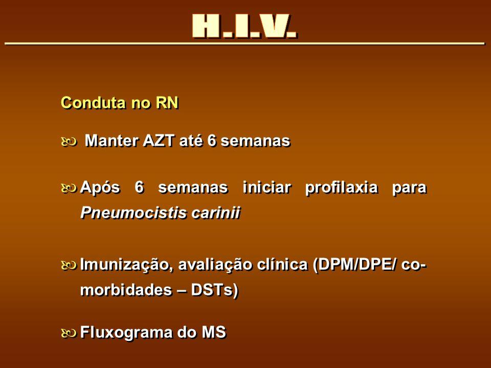 Conduta no RN Manter AZT até 6 semanas Após 6 semanas iniciar profilaxia para Pneumocistis carinii Imunização, avaliação clínica (DPM/DPE/ co- morbida