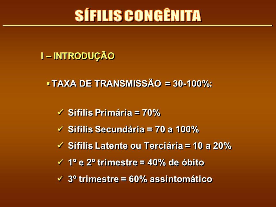 I – INTRODUÇÃO TAXA DE TRANSMISSÃO = 30-100%: Sífilis Primária = 70% Sífilis Secundária = 70 a 100% Sífilis Latente ou Terciária = 10 a 20% 1º e 2º tr