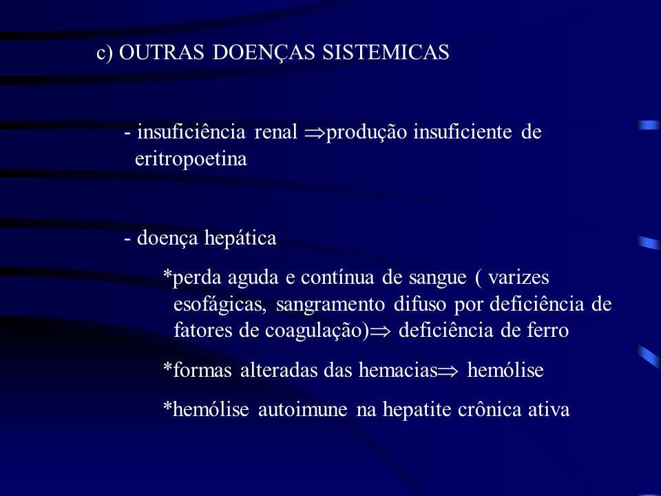 c) OUTRAS DOENÇAS SISTEMICAS - insuficiência renal produção insuficiente de eritropoetina - doença hepática *perda aguda e contínua de sangue ( varize