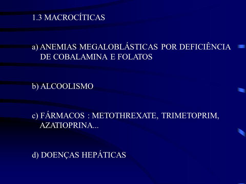 1.3 MACROCÍTICAS a) ANEMIAS MEGALOBLÁSTICAS POR DEFICIÊNCIA DE COBALAMINA E FOLATOS b) ALCOOLISMO c) FÁRMACOS : METOTHREXATE, TRIMETOPRIM, AZATIOPRINA
