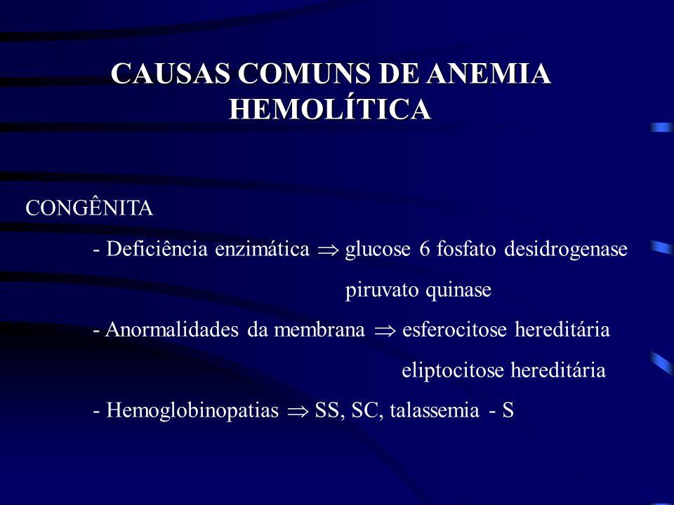 CAUSAS COMUNS DE ANEMIA HEMOLÍTICA CONGÊNITA - Deficiência enzimática glucose 6 fosfato desidrogenase piruvato quinase - Anormalidades da membrana esf