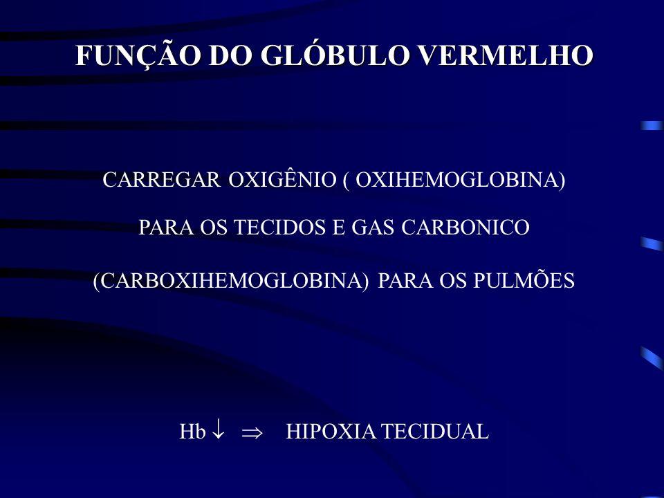 FUNÇÃO DO GLÓBULO VERMELHO CARREGAR OXIGÊNIO ( OXIHEMOGLOBINA) PARA OS TECIDOS E GAS CARBONICO (CARBOXIHEMOGLOBINA) PARA OS PULMÕES Hb HIPOXIA TECIDUA