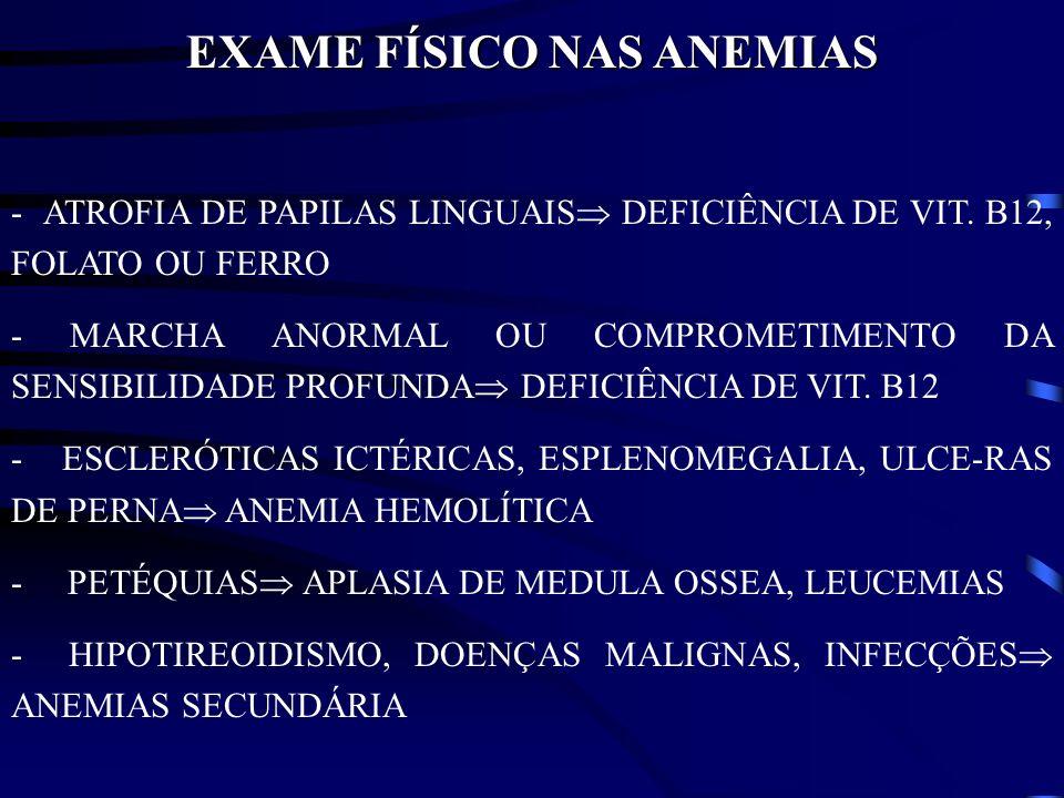 EXAME FÍSICO NAS ANEMIAS - ATROFIA DE PAPILAS LINGUAIS DEFICIÊNCIA DE VIT. B12, FOLATO OU FERRO - MARCHA ANORMAL OU COMPROMETIMENTO DA SENSIBILIDADE P