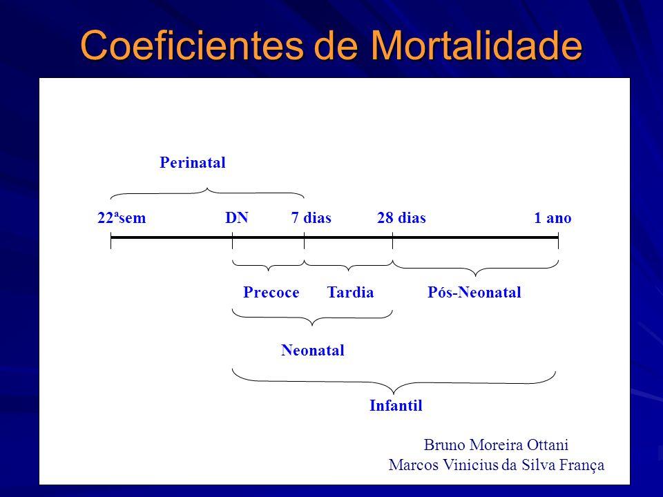 Coeficientes de Mortalidade Perinatal 22ªsem DN 7 dias 28 dias 1 ano Precoce Tardia Pós-Neonatal Neonatal Infantil Bruno Moreira Ottani Marcos Viniciu