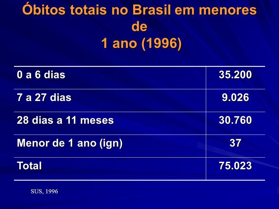 Óbitos totais no Brasil em menores de 1 ano (1996) 0 a 6 dias 35.200 7 a 27 dias 9.026 28 dias a 11 meses 30.760 Menor de 1 ano (ign) 37 Total75.023 S