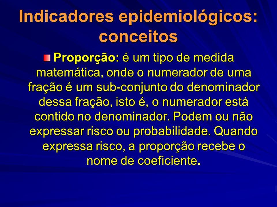 Indicadores epidemiológicos: conceitos Proporção: é um tipo de medida matemática, onde o numerador de uma fração é um sub-conjunto do denominador dess