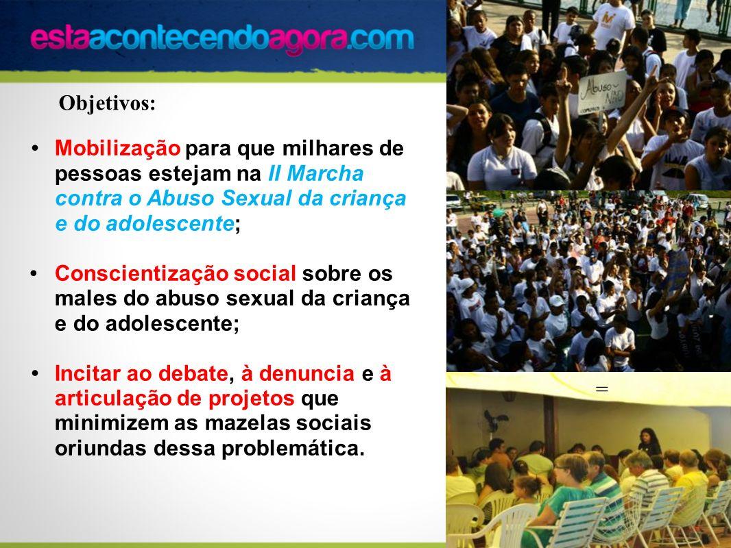 Mobilização para que milhares de pessoas estejam na II Marcha contra o Abuso Sexual da criança e do adolescente; Conscientização social sobre os males