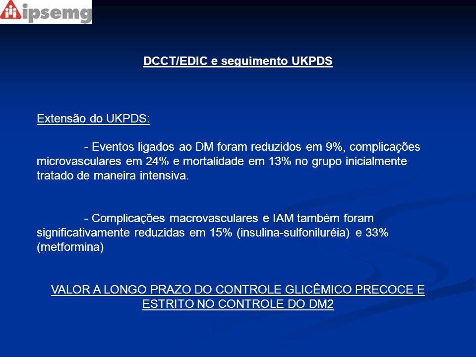 DCCT/EDIC e seguimento UKPDS Extensão do UKPDS: - Eventos ligados ao DM foram reduzidos em 9%, complicações microvasculares em 24% e mortalidade em 13