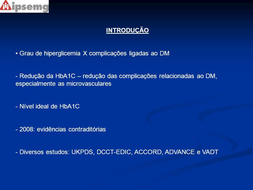 DCCT/EDIC e seguimento UKPDS -EDIC: - Persistência benéfica a longo-prazo dos efeitos do tratamento intensivo - Incidência de eventos cardiovasculares menor no grupo inicialmente tratado de maneira intensiva, mesmo após controle glicêmico idêntico