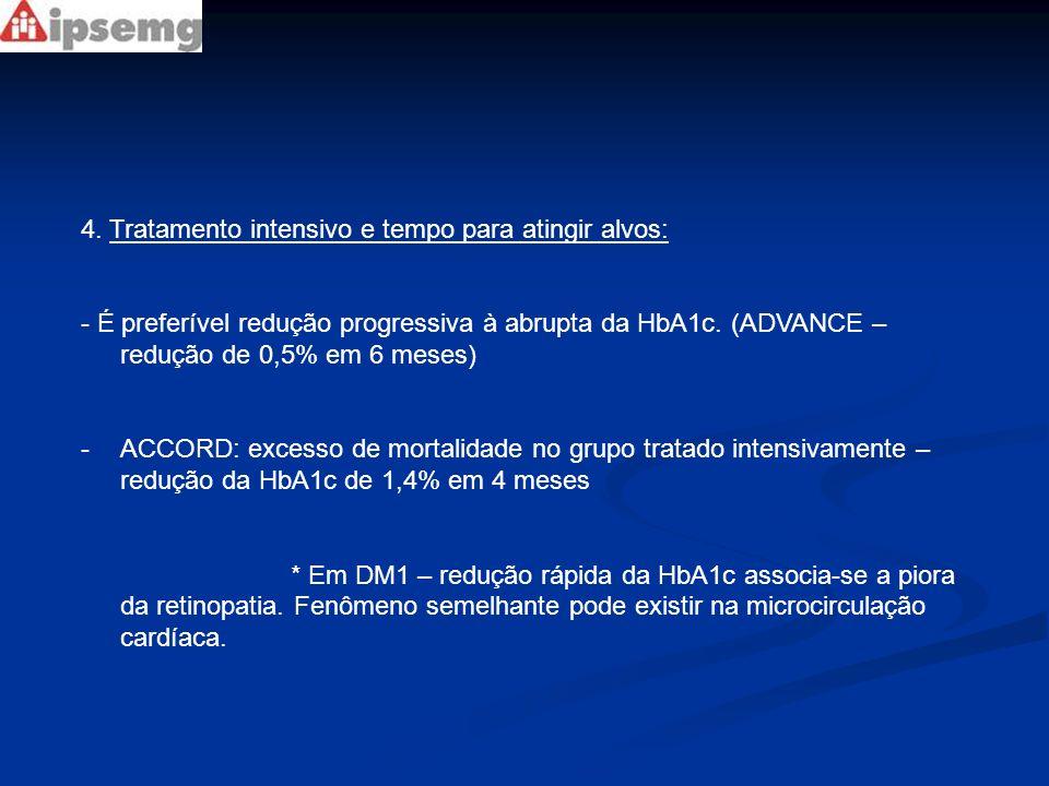 4. Tratamento intensivo e tempo para atingir alvos: - É preferível redução progressiva à abrupta da HbA1c. (ADVANCE – redução de 0,5% em 6 meses) -ACC
