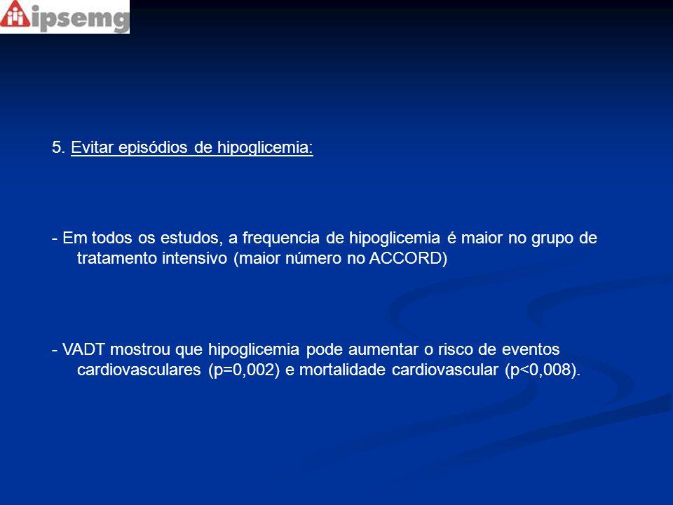 5. Evitar episódios de hipoglicemia: - Em todos os estudos, a frequencia de hipoglicemia é maior no grupo de tratamento intensivo (maior número no ACC