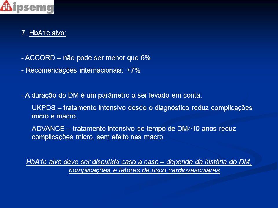 7. HbA1c alvo: - ACCORD – não pode ser menor que 6% - Recomendações internacionais: <7% - A duração do DM é um parâmetro a ser levado em conta. UKPDS