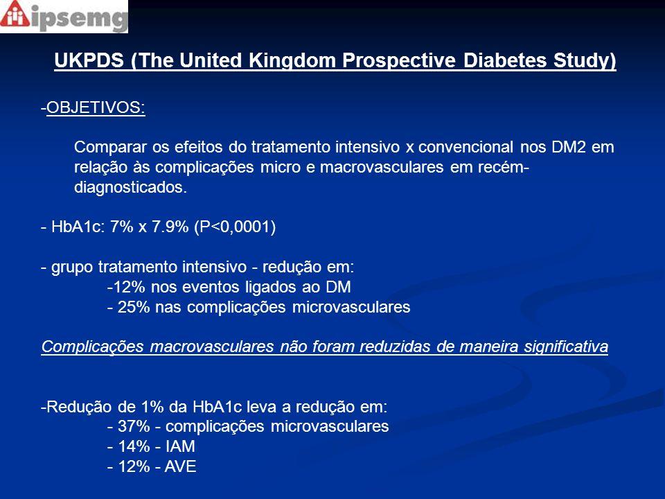 UKPDS – extensão Após UKPDS – avaliação anual dos pacientes Em 5 anos, independente do tratamento seguido: - Redução na mortalidade de 11% - Diminuição de 14% nos IAM - Memória do bom controle glicêmico inicial