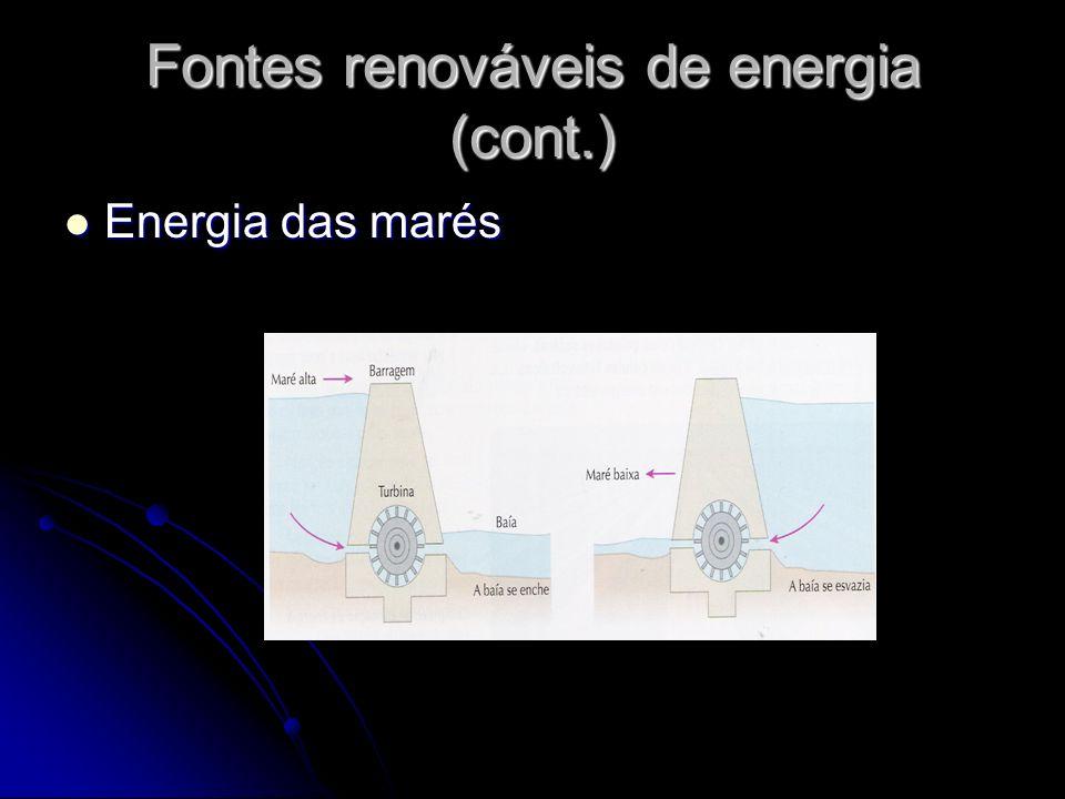 Fontes renováveis de energia (cont.) Energia das marés Energia das marés