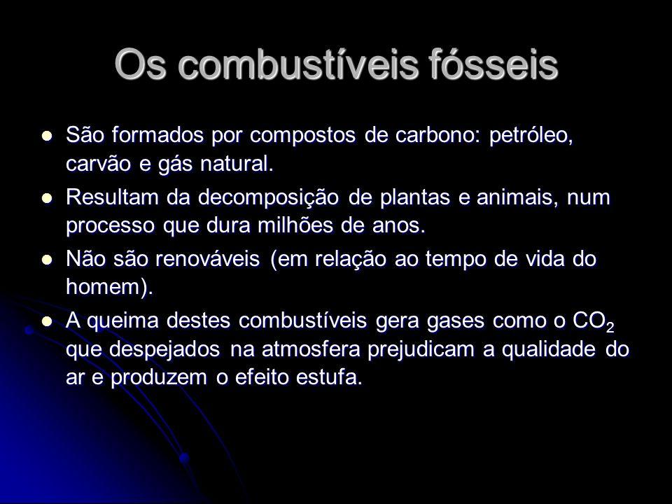Os combustíveis fósseis São formados por compostos de carbono: petróleo, carvão e gás natural. São formados por compostos de carbono: petróleo, carvão