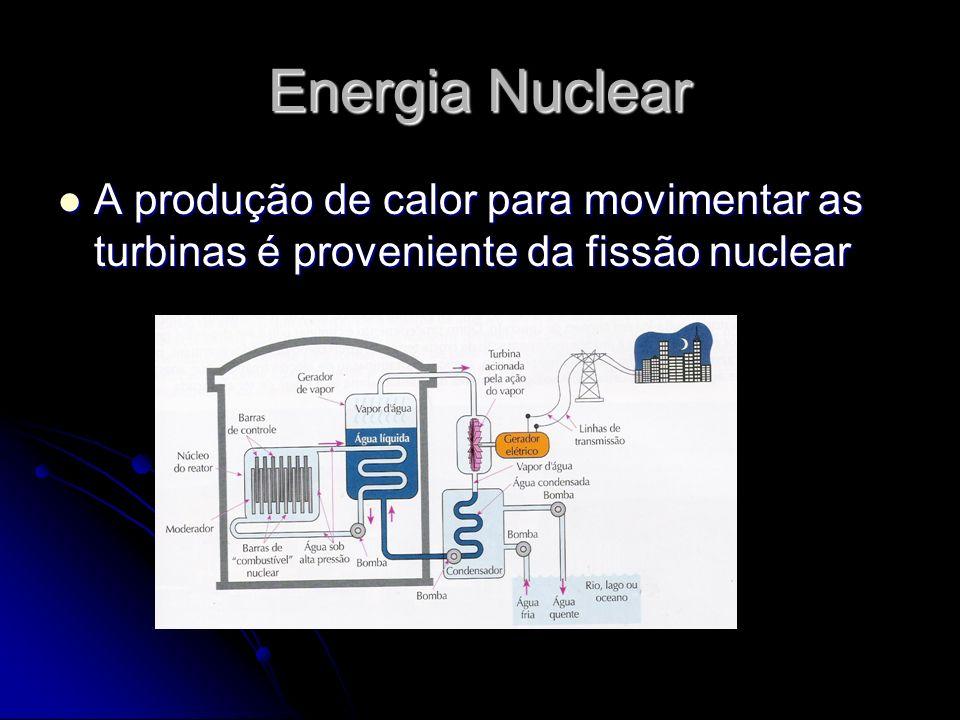 Energia Nuclear A produção de calor para movimentar as turbinas é proveniente da fissão nuclear A produção de calor para movimentar as turbinas é prov