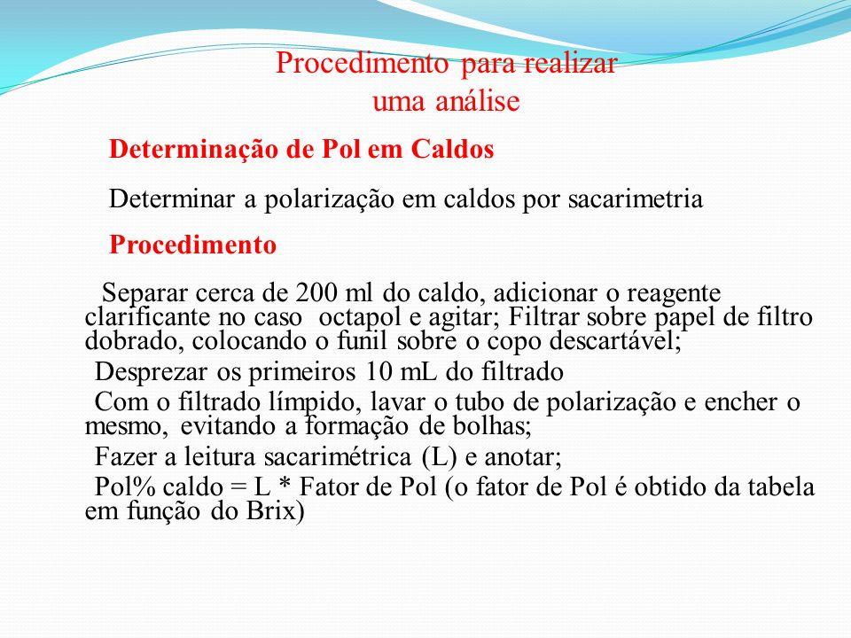 Procedimento para realizar uma análise Determinação de Pol em Caldos Determinar a polarização em caldos por sacarimetria Procedimento Separar cerca de