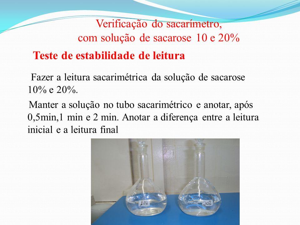 Verificação do sacarímetro, com solução de sacarose 10 e 20% Teste de estabilidade de leitura Fazer a leitura sacarimétrica da solução de sacarose 10%