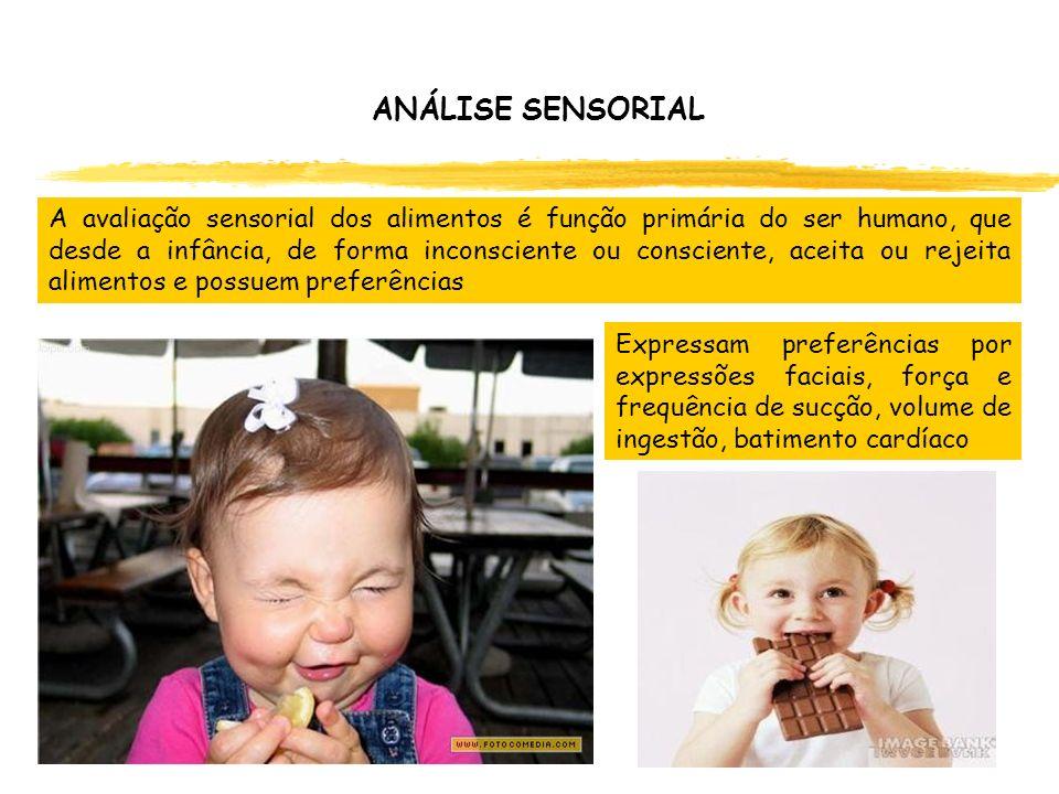 ANÁLISE SENSORIAL A avaliação sensorial dos alimentos é função primária do ser humano, que desde a infância, de forma inconsciente ou consciente, acei