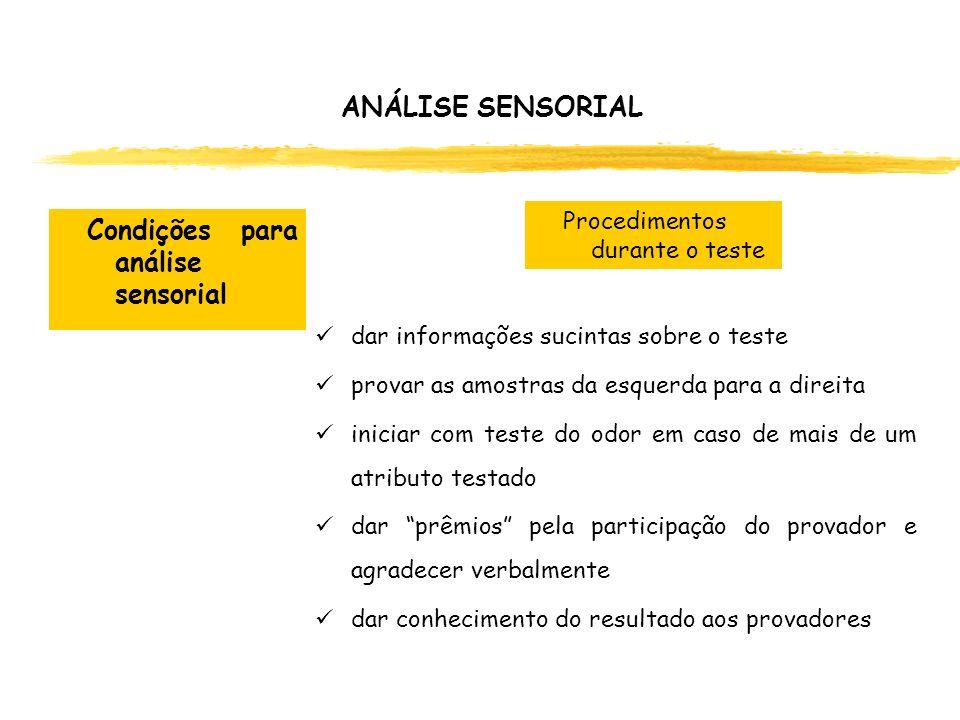 ANÁLISE SENSORIAL dar informações sucintas sobre o teste provar as amostras da esquerda para a direita iniciar com teste do odor em caso de mais de um
