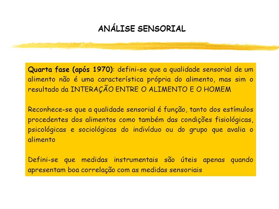 Quarta fase (após 1970): defini-se que a qualidade sensorial de um alimento não é uma característica própria do alimento, mas sim o resultado da INTER