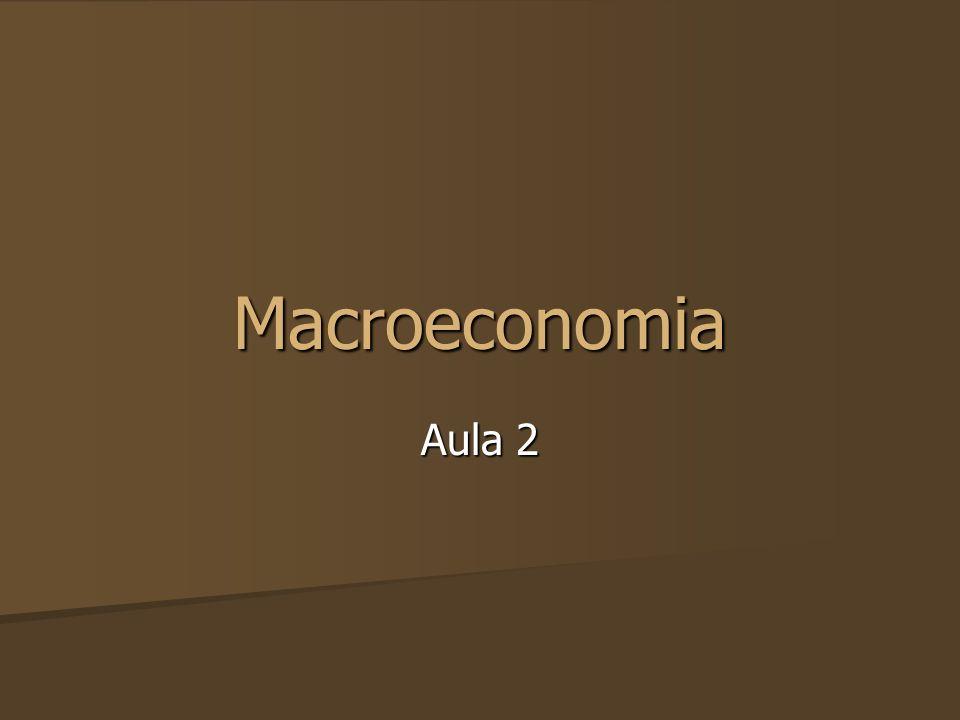 Metas de Política Macroeconômica As principais metas de política macroeconômica são: As principais metas de política macroeconômica são: 1.Alto nível de emprego (Aumentar Produção) 2.Estabilidade de preços (Controlar Consumo) 3.Distribuição de renda socialmente justa (?) 4.Crescimento econômico (Aumentar Produção)