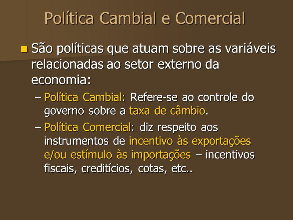 Política Cambial e Comercial São políticas que atuam sobre as variáveis relacionadas ao setor externo da economia: São políticas que atuam sobre as va