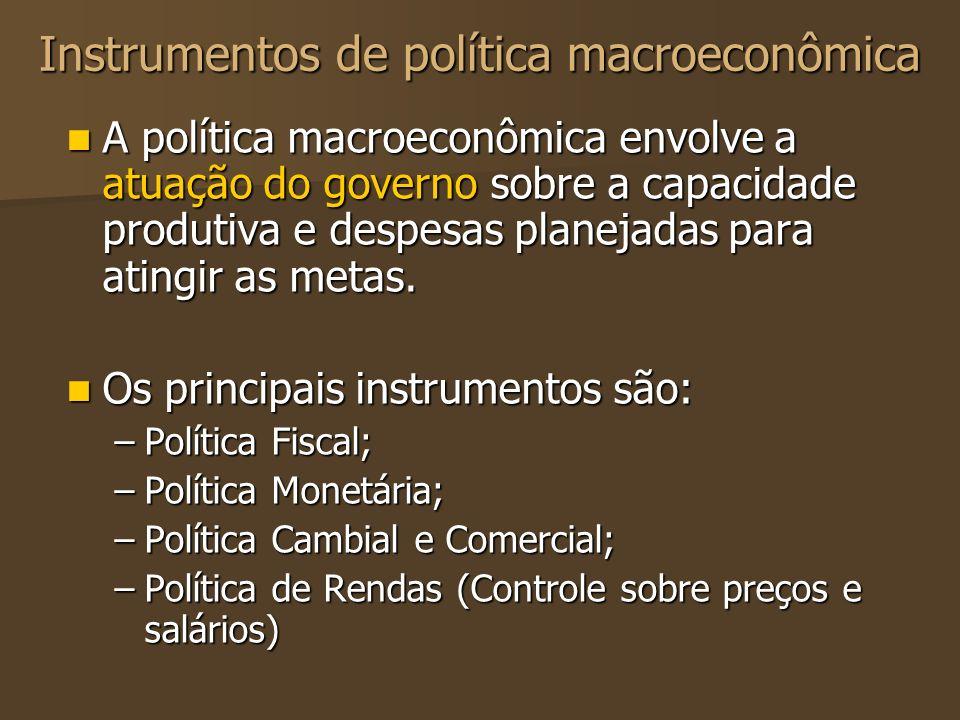 Instrumentos de política macroeconômica A política macroeconômica envolve a atuação do governo sobre a capacidade produtiva e despesas planejadas para