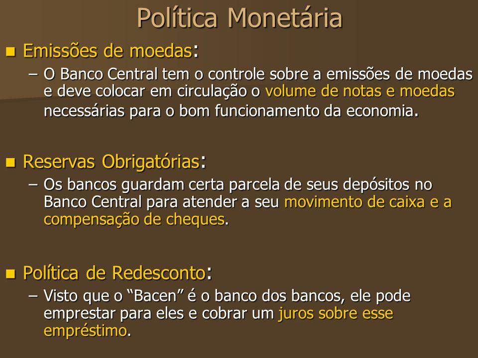 Política monetária Operações de Open Market: Operações de Open Market: –Essa operação consiste em vendas e compras, por parte do Banco Central, de títulos governamentais no mercado de capitais.
