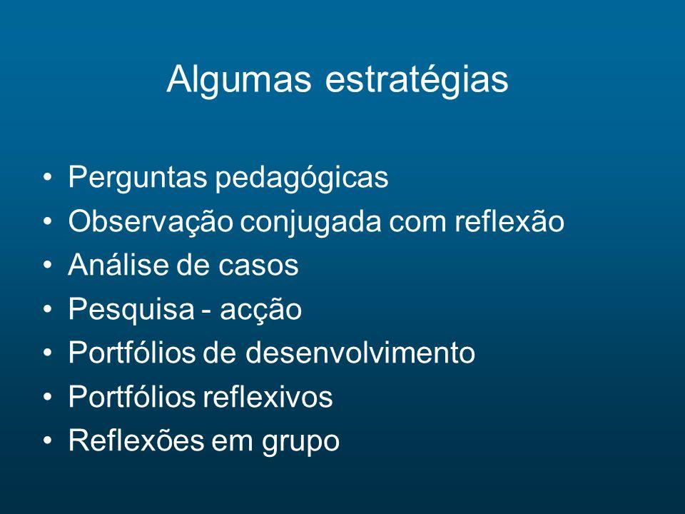 Algumas estratégias Perguntas pedagógicas Observação conjugada com reflexão Análise de casos Pesquisa - acção Portfólios de desenvolvimento Portfólios