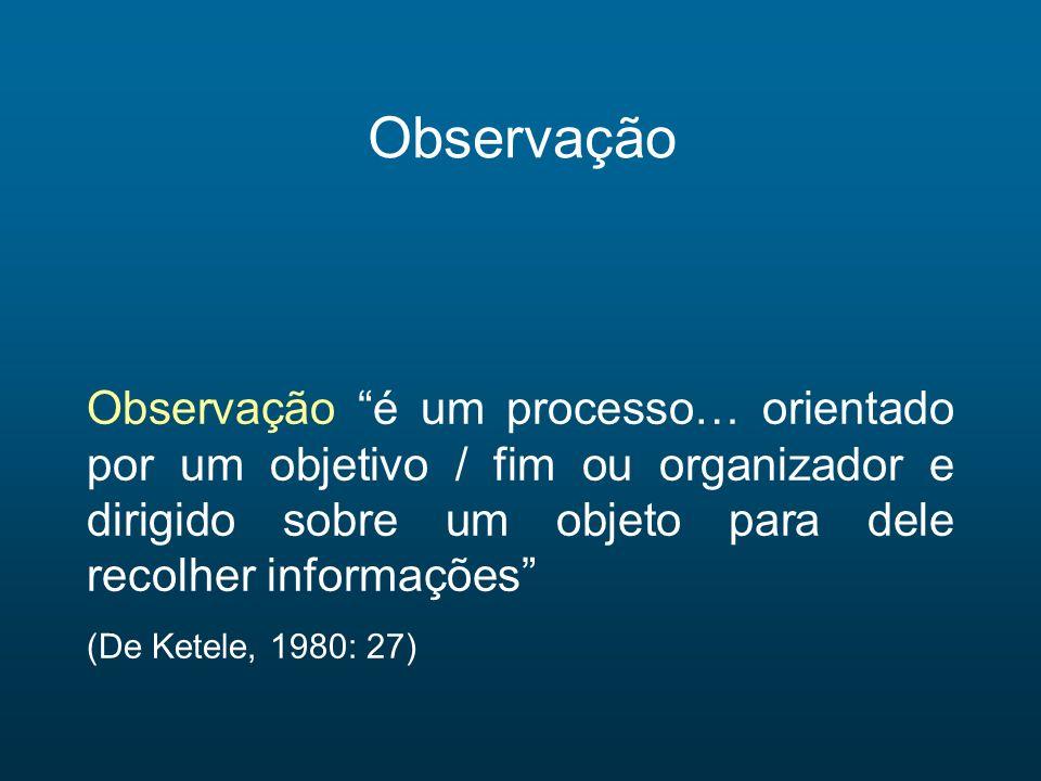 Observação Observação é um processo… orientado por um objetivo / fim ou organizador e dirigido sobre um objeto para dele recolher informações (De Kete