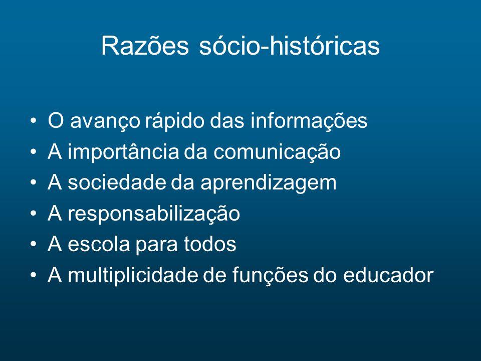 Razões sócio-históricas O avanço rápido das informações A importância da comunicação A sociedade da aprendizagem A responsabilização A escola para tod