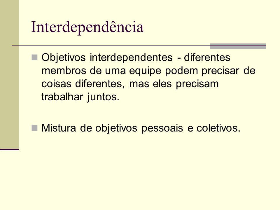 Interdependência Objetivos interdependentes - diferentes membros de uma equipe podem precisar de coisas diferentes, mas eles precisam trabalhar juntos