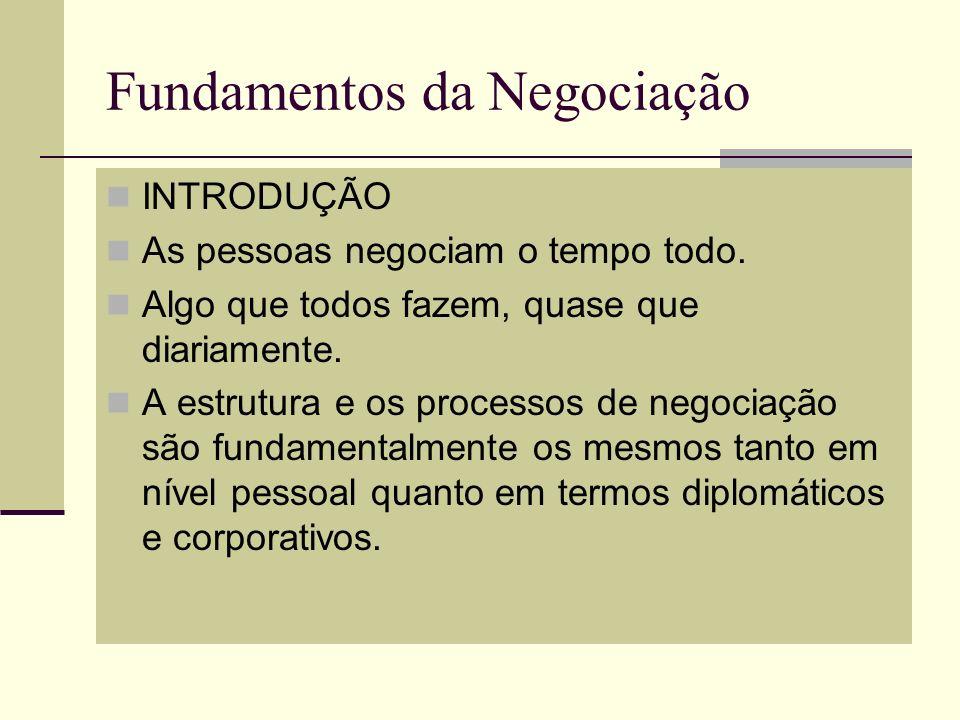 Fundamentos da Negociação INTRODUÇÃO As pessoas negociam o tempo todo. Algo que todos fazem, quase que diariamente. A estrutura e os processos de nego