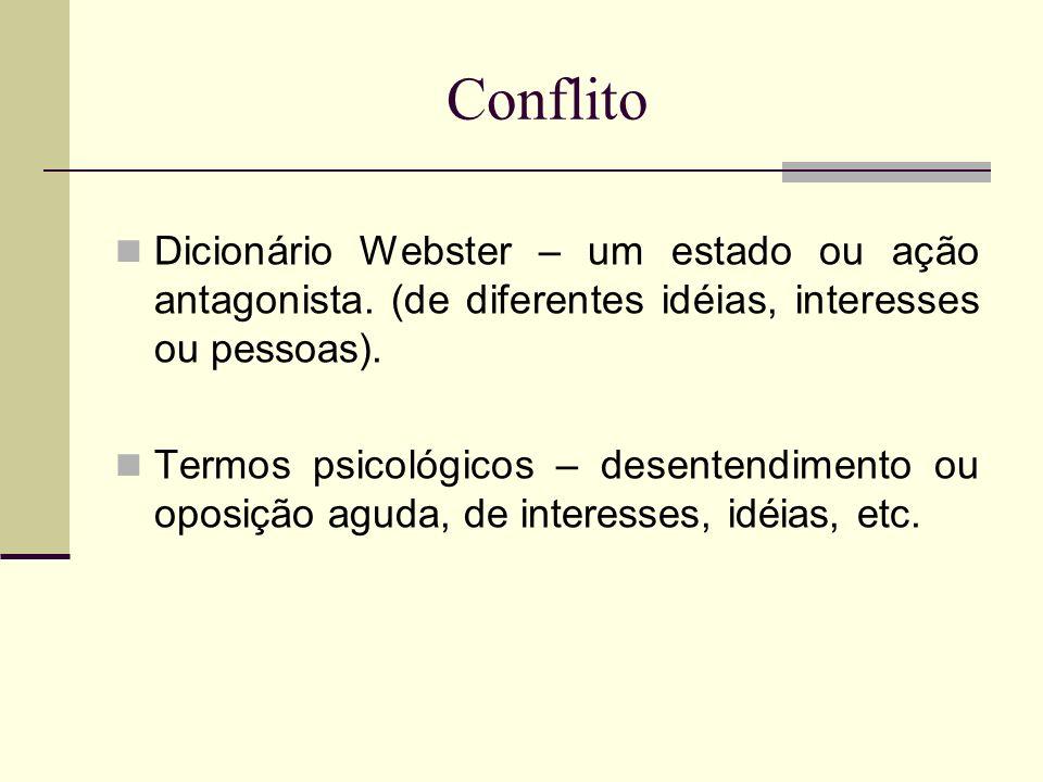 Conflito Dicionário Webster – um estado ou ação antagonista. (de diferentes idéias, interesses ou pessoas). Termos psicológicos – desentendimento ou o