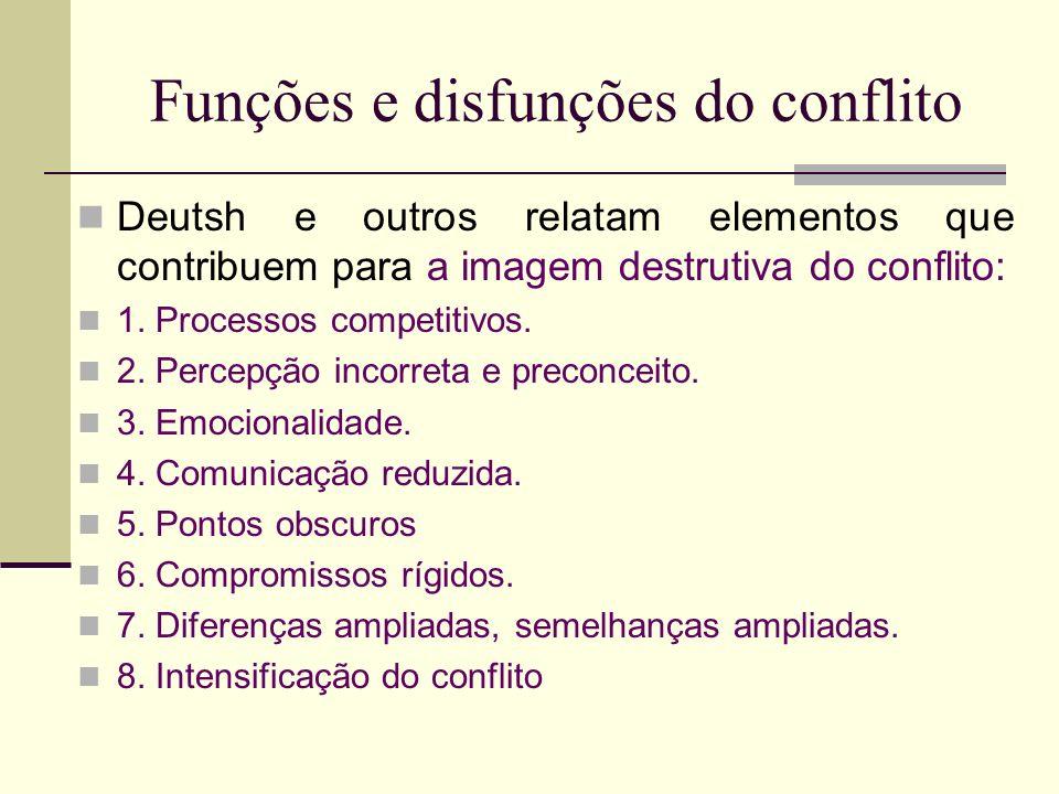 Funções e disfunções do conflito Deutsh e outros relatam elementos que contribuem para a imagem destrutiva do conflito: 1. Processos competitivos. 2.