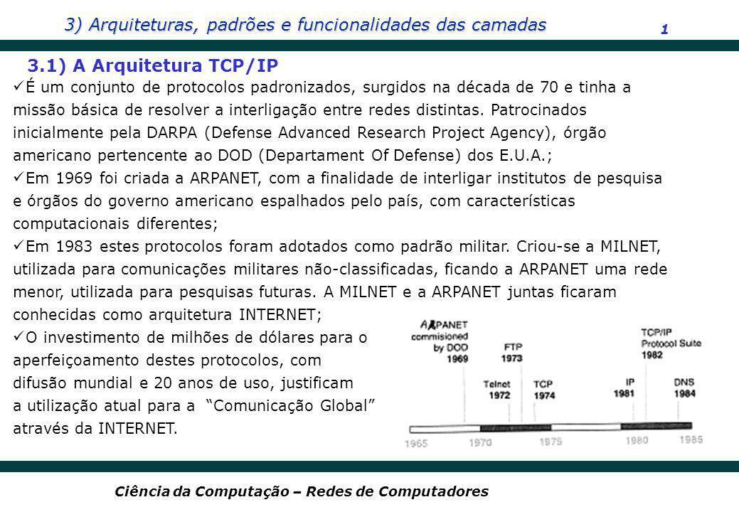 3) Arquiteturas, padrões e funcionalidades das camadas 1 Ciência da Computação – Redes de Computadores 3.1) A Arquitetura TCP/IP É um conjunto de prot