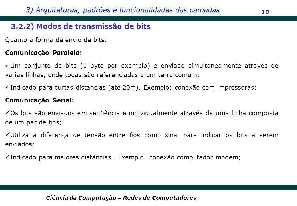 3) Arquiteturas, padrões e funcionalidades das camadas 10 Ciência da Computação – Redes de Computadores 3.2.2) Modos de transmissão de bits Quanto à f
