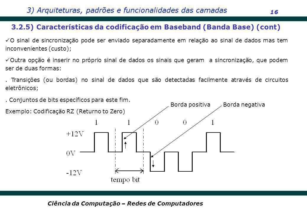 3) Arquiteturas, padrões e funcionalidades das camadas 16 Ciência da Computação – Redes de Computadores 3.2.5) Características da codificação em Baseb