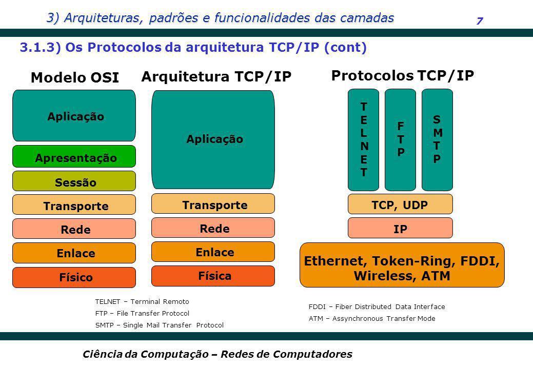 3) Arquiteturas, padrões e funcionalidades das camadas 7 Ciência da Computação – Redes de Computadores Protocolos TCP/IP IP TCP, UDP Ethernet, Token-R