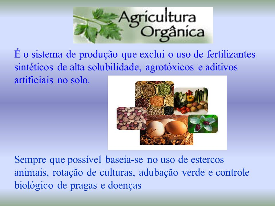 Agricultura Biodinâmica Sistema de produção agrícola que busca manejar de forma equilibrada o solo e demais recursos naturais ( água, planta, animais,