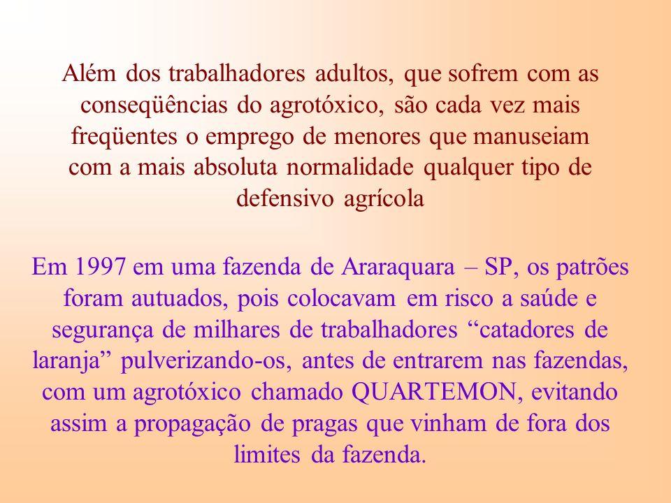 Além dos trabalhadores adultos, que sofrem com as conseqüências do agrotóxico, são cada vez mais freqüentes o emprego de menores que manuseiam com a mais absoluta normalidade qualquer tipo de defensivo agrícola Em 1997 em uma fazenda de Araraquara – SP, os patrões foram autuados, pois colocavam em risco a saúde e segurança de milhares de trabalhadores catadores de laranja pulverizando-os, antes de entrarem nas fazendas, com um agrotóxico chamado QUARTEMON, evitando assim a propagação de pragas que vinham de fora dos limites da fazenda.