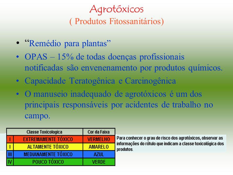 Agrotóxicos ( Produtos Fitossanitários) Remédio para plantas OPAS – 15% de todas doenças profissionais notificadas são envenenamento por produtos químicos.