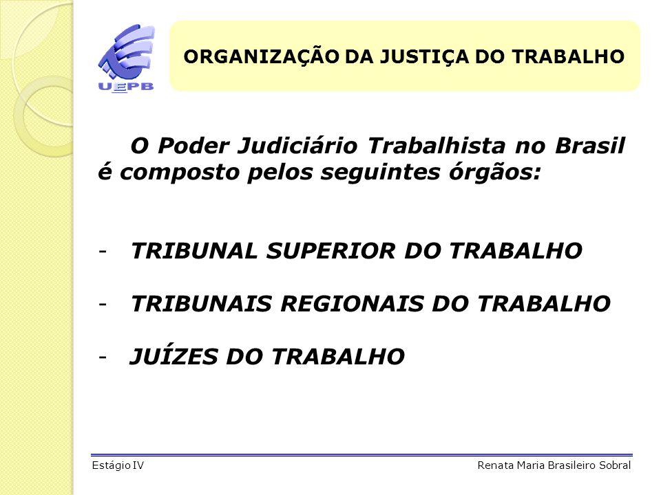 ORGANIZAÇÃO DA JUSTIÇA DO TRABALHO O Poder Judiciário Trabalhista no Brasil é composto pelos seguintes órgãos: -TRIBUNAL SUPERIOR DO TRABALHO -TRIBUNA